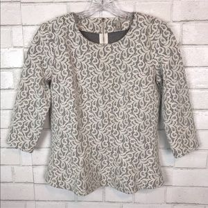 J. Crew peplum top lace ivory blouse shirt A10